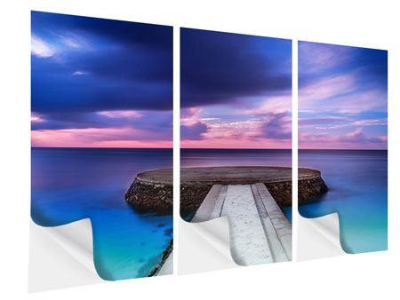 Klebeposter 3-teilig Meditation am Meer