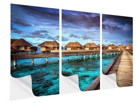 Klebeposter 3-teilig Traumhaus im Wasser