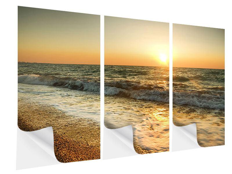 Klebeposter 3-teilig Sonnenuntergang am Meer