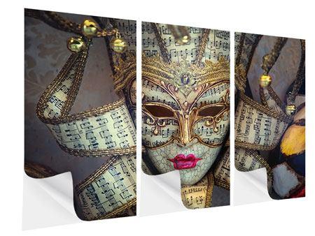 Klebeposter 3-teilig Venezianische Maske