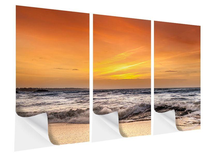 Klebeposter 3-teilig See mit Sonnenuntergang