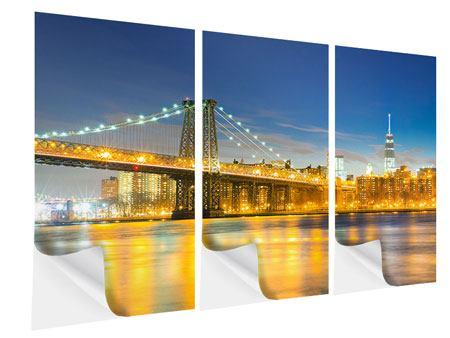 Klebeposter 3-teilig Brooklyn Bridge bei Nacht