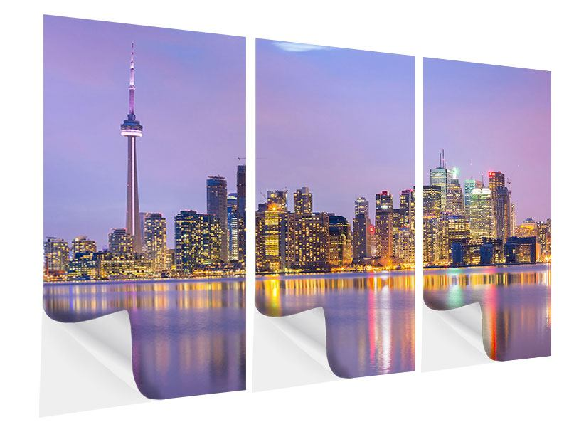 Klebeposter 3-teilig Skyline Toronto bei Nacht
