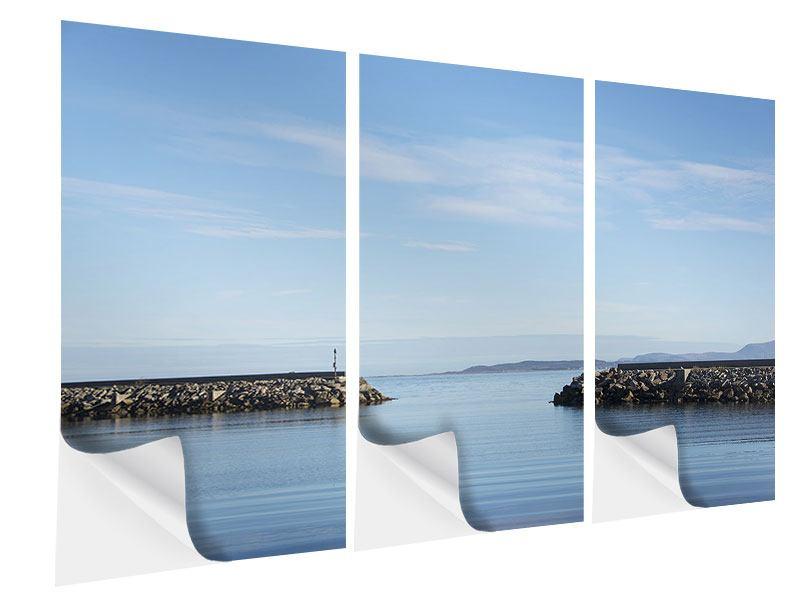 Klebeposter 3-teilig Hafenmauern