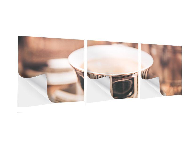 Panorama Klebeposter 3-teilig Der Kaffee ist fertig