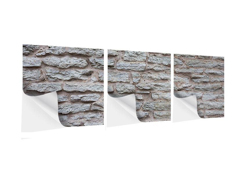 Panorama Klebeposter 3-teilig Steinmauer