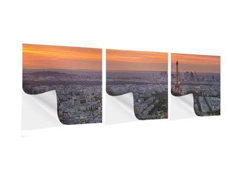 Panorama Klebeposter 3-teilig Skyline Paris bei Sonnenuntergang