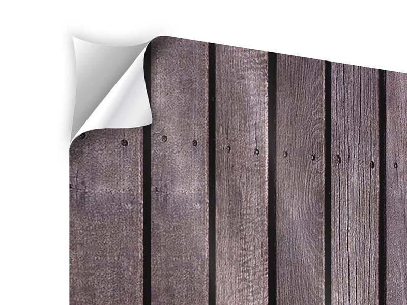 Panorama Klebeposter 3-teilig Holzwand