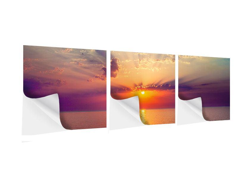 Panorama Klebeposter 3-teilig Mystischer Sonnenaufgang