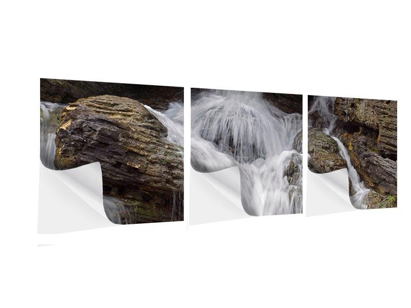 Panorama Klebeposter 3-teilig Wasserfall XXL