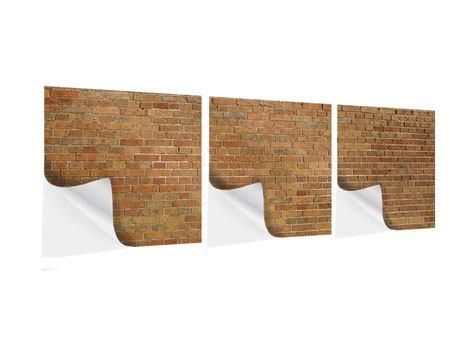 Panorama Klebeposter 3-teilig Backsteinhintergrund