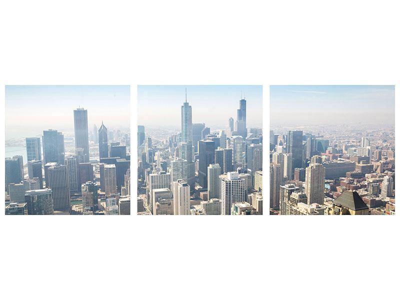 Panorama Klebeposter 3-teilig Wolkenkratzer Chicago