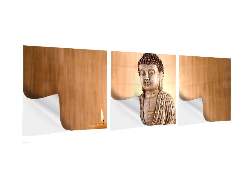 Panorama Klebeposter 3-teilig Buddha in der Meditation