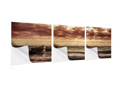 Panorama Klebeposter 3-teilig Meeresrauschen