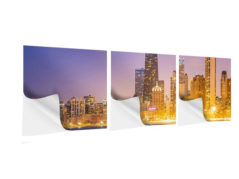 Panorama Klebeposter 3-teilig Skyline Chicago in der Nacht
