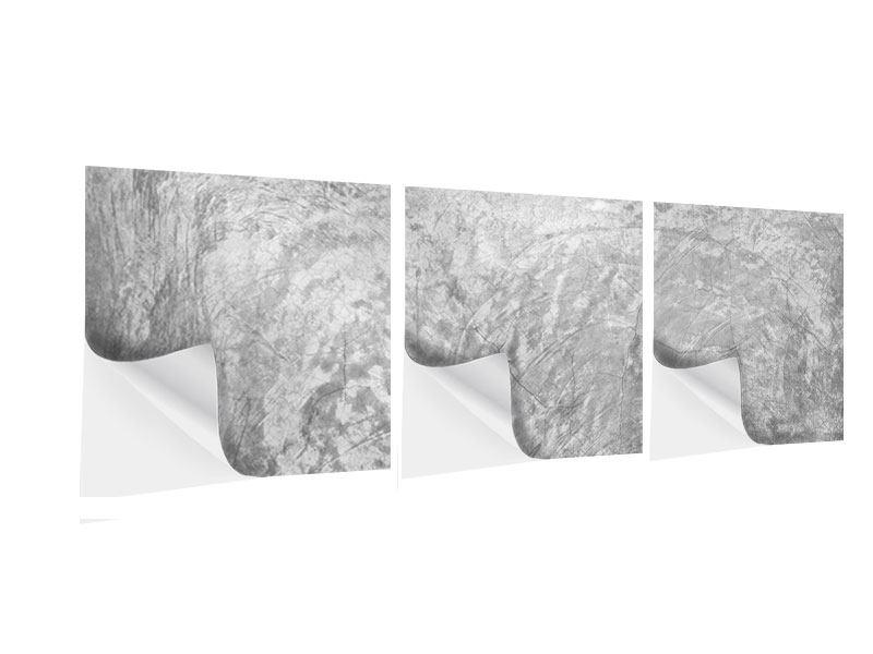 Panorama Klebeposter 3-teilig Wischtechnik in Grau
