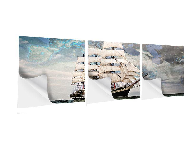 Panorama Klebeposter 3-teilig Segelschiff