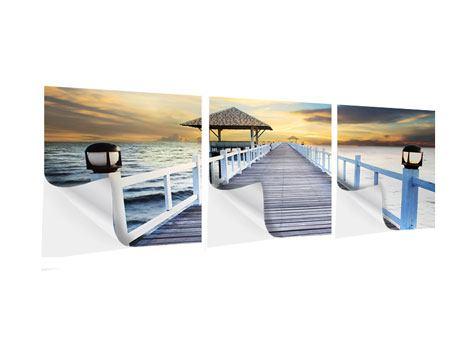 Panorama Klebeposter 3-teilig Die Brücke ins Meer