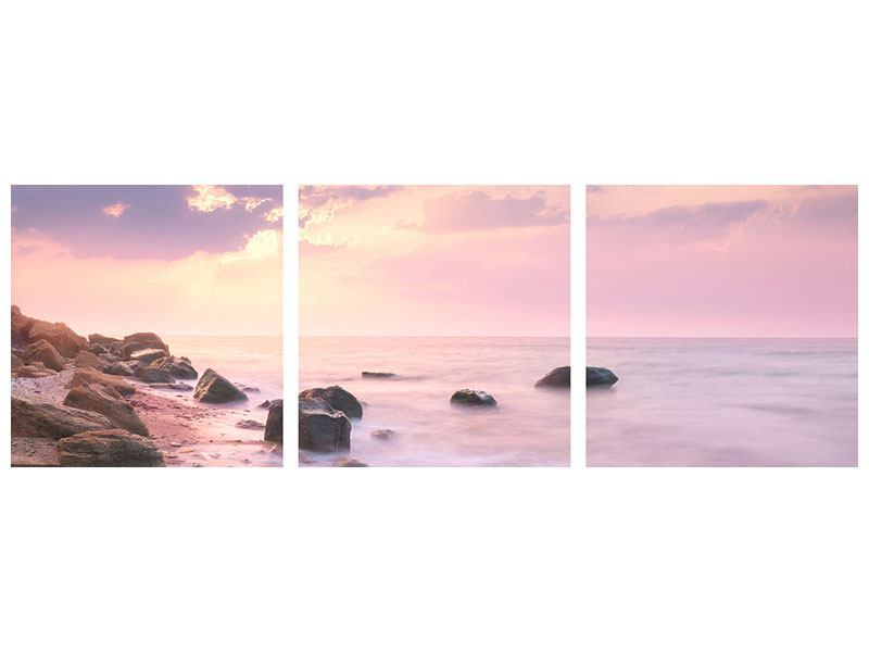 Panorama Klebeposter 3-teilig Sonnenaufgang am Meer