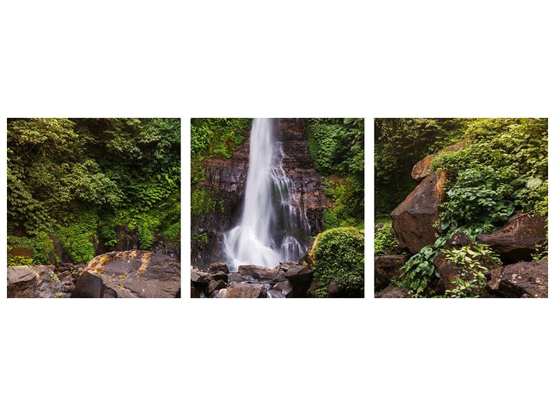 Panorama Klebeposter 3-teilig Wasserfall Bali
