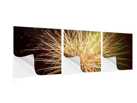 Panorama Klebeposter 3-teilig Feuerwerk XXL