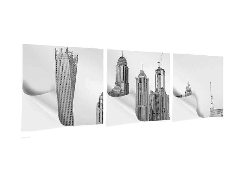 Panorama Klebeposter 3-teilig Majestätische Wolkenkratzer in Dubai