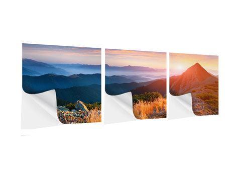 Panorama Klebeposter 3-teilig Sonnenuntergang in den Alpen