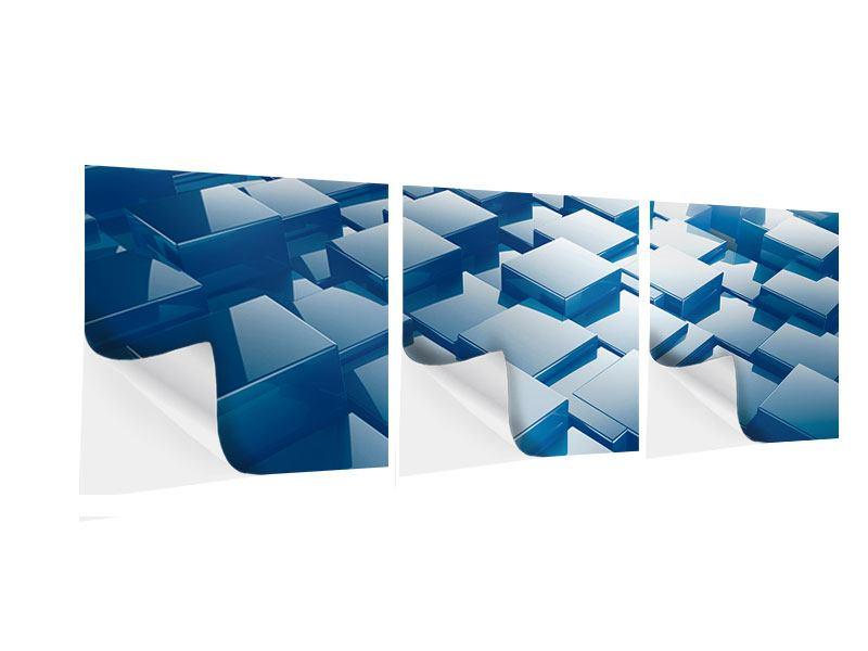 Panorama Klebeposter 3-teilig 3D-Cubes