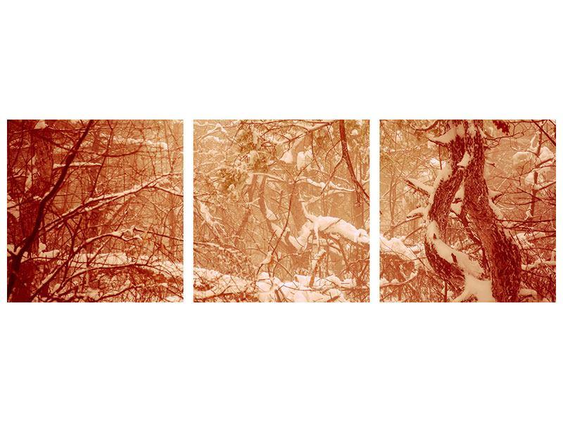 Panorama Klebeposter 3-teilig Schneewald