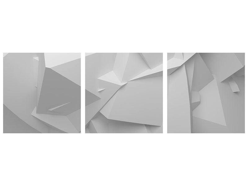 Panorama Klebeposter 3-teilig 3D-Raster