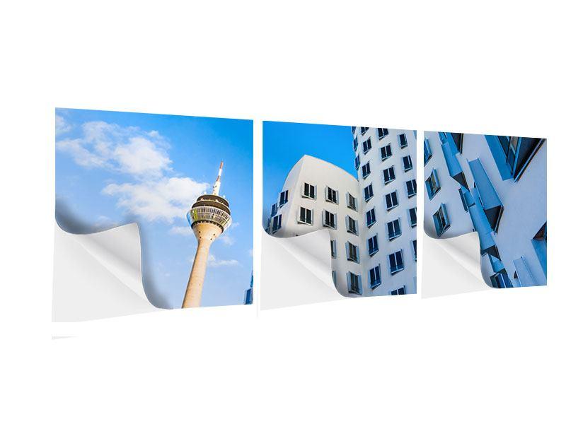 Panorama Klebeposter 3-teilig Neuer Zollhof Düsseldorf