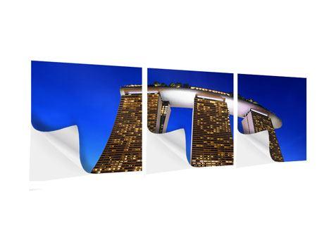 Panorama Klebeposter 3-teilig Wolkenkratzer Singapur