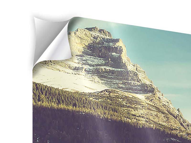 Panorama Klebeposter 3-teilig Spiegelung im Bergsee