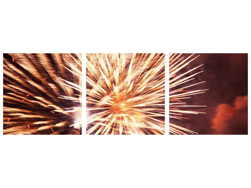 Panorama Klebeposter 3-teilig Close Up Feuerwerk