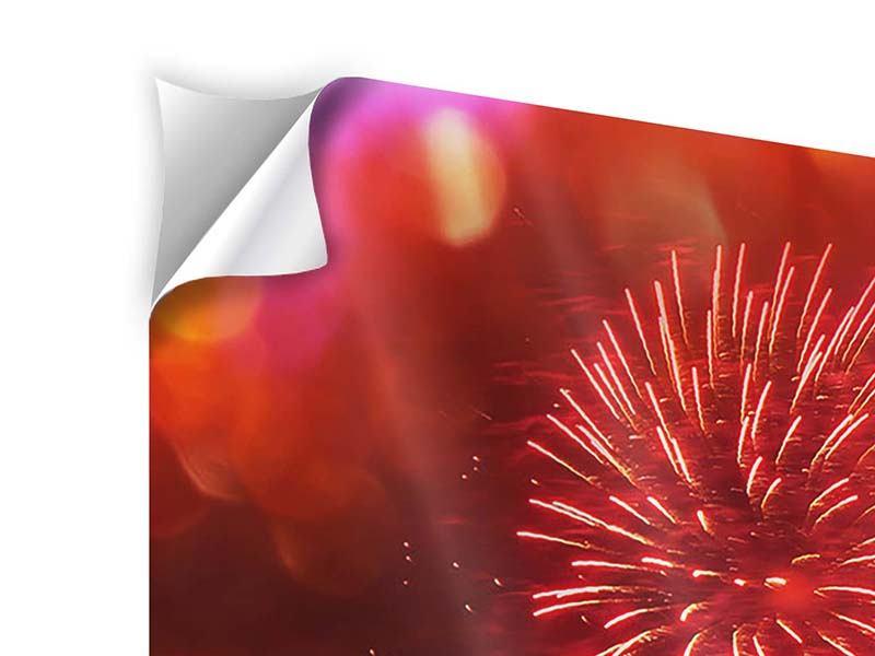 Panorama Klebeposter 3-teilig Buntes Feuerwerk