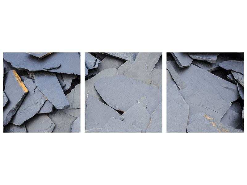 Panorama Klebeposter 3-teilig Schieferplatten