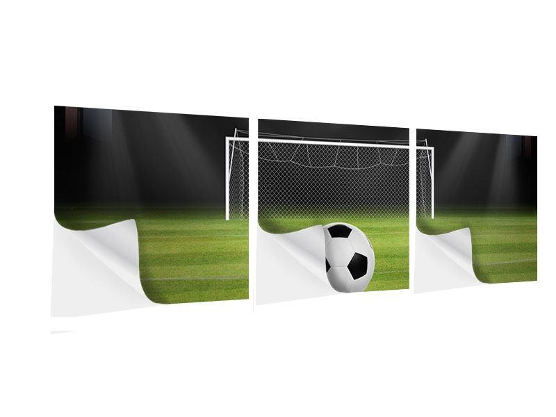 Panorama Klebeposter 3-teilig Fussball-Tor