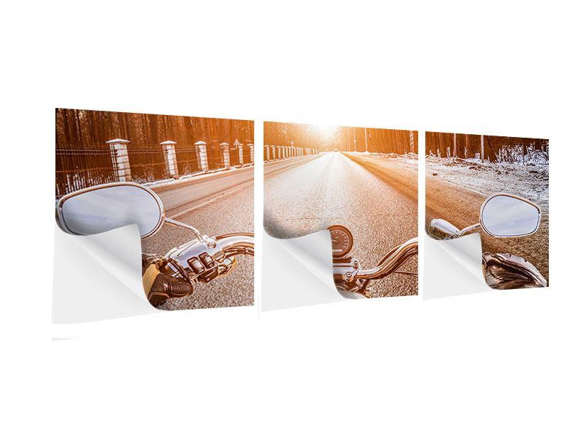 Panorama Klebeposter 3-teilig Auf dem Motorrad