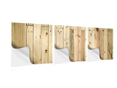 Panorama Klebeposter 3-teilig Holzpaneelen