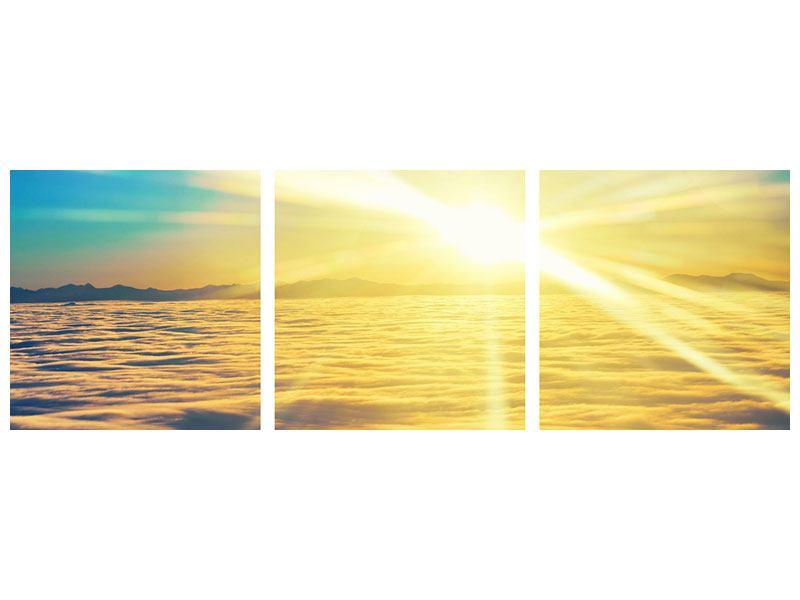 Panorama Klebeposter 3-teilig Sonnenuntergang über den Wolken