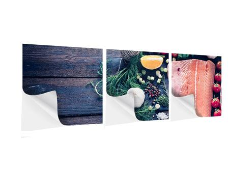Panorama Klebeposter 3-teilig Fangfrischer Fisch