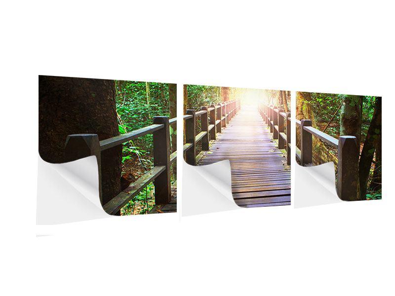 Panorama Klebeposter 3-teilig Die Brücke im Wald