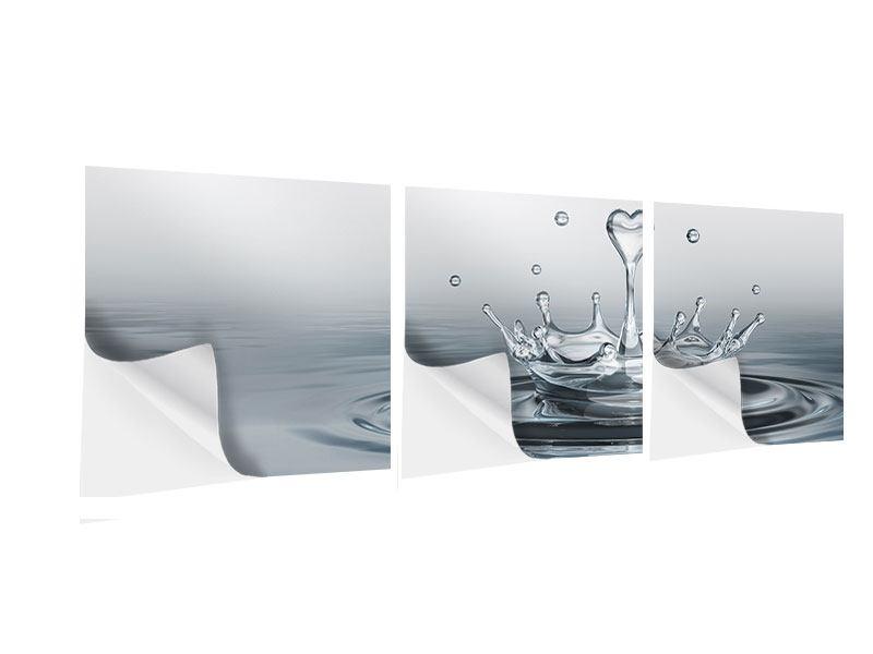 Panorama Klebeposter 3-teilig Wasserfigur