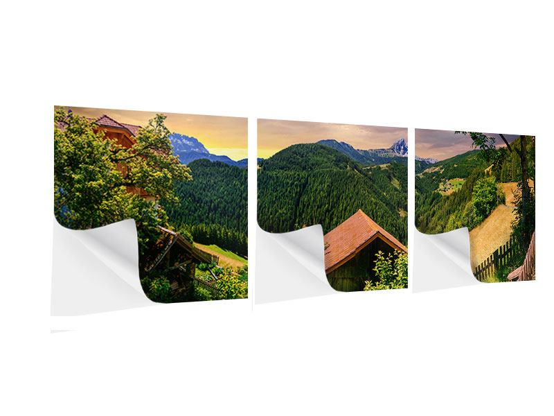 Panorama Klebeposter 3-teilig Schweizer Berge im Sommer
