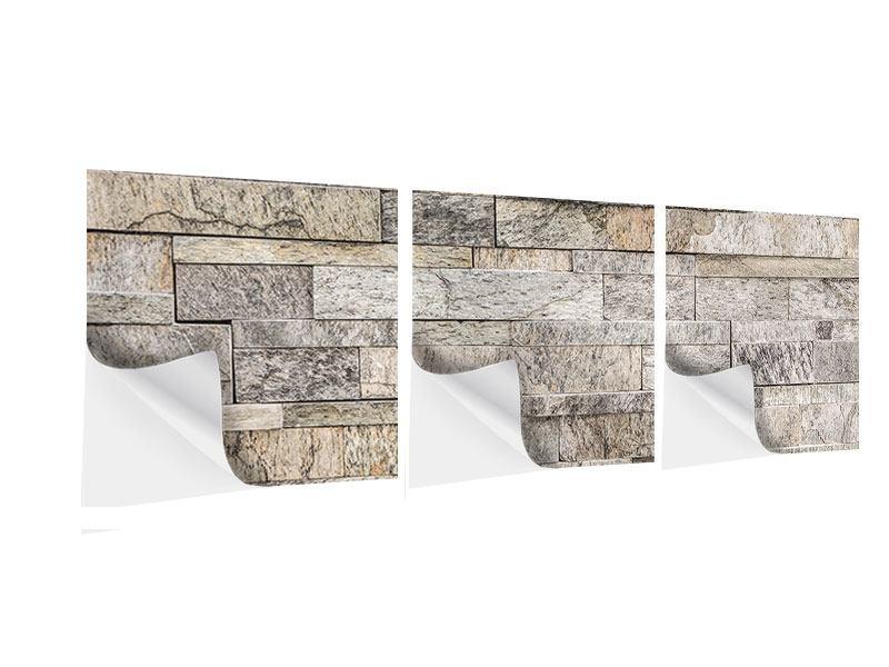 Panorama Klebeposter 3-teilig Elegante Steinmauer