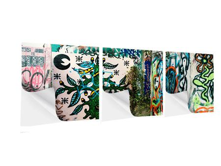 Panorama Klebeposter 3-teilig Graffiti im Hinterhof