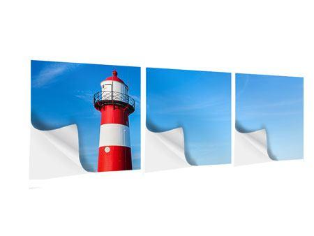 Panorama Klebeposter 3-teilig Sommer beim Leuchtturm