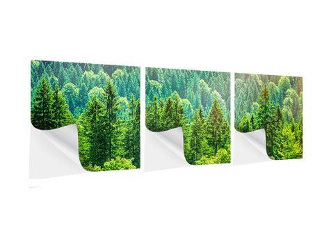 Panorama Klebeposter 3-teilig Der Waldhügel