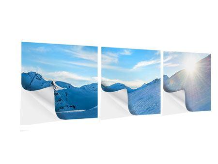 Panorama Klebeposter 3-teilig Sonnenaufgang in den Bergen