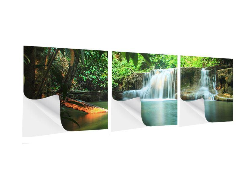 Panorama Klebeposter 3-teilig Element Wasser